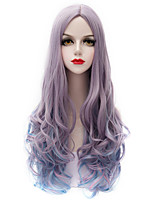 Vogue Gray Gradient Blue Long Curl Wavy U Part Hair Harajuku Purecas Lolita Fashion Party Women Girl Synthetic Wig