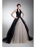 フォーマルイブニング ドレス Aライン ホルター コートトレーン チュール とともに アップリケ / ビーズ