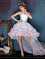 Cocktail Party Dress Ball Gown Strapless Asymmetrical Tulle with Flower(s)