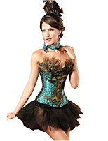 YUIYE® Sexy Shining Two-piece Peacock Corset Skirt Set Sexy Lace up with G-string  Waist Corset Women Plus Size