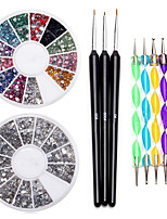 Premium Manicure 12 Colors Gemstones Wheel, Fine Detail Wooden Nailart Brushes and Double Ended Dotting Marbling