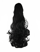 Length Black Wig 58CM Synthetic Curly High Temperature Wire Scroll Horsetail Color 1B