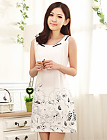 Women Simple Print Round Collar Sleeveless Cotton Nightdress Sleepwear Pajama