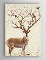 Hand Painted Oil Painting Animal Decorated Deer and Birds with Stretched Frame 7 Wall Arts®