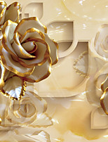JAMMORY Floral Wallpaper Luxury Wall Covering,Canvas European Golden Rose