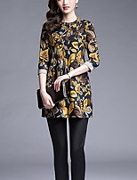 Women's Casual/Daily / Plus Size Street chic Loose Dress,Print Round Neck Mini ¾ Sleeve Yellow Cotton Summer