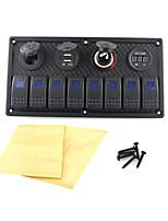 iztor8p painel de plástico azul lâmpadas 5p on-off interruptor basculante + tomada de alimentação + isqueiro + usb carregador de carro +