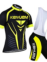 KEIYUEM Cycling Jersey with Bib Shorts Women's Men's Unisex Short Sleeve BikeBreathable Quick Dry Dust Proof Wearable Compression Back
