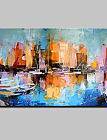 Large Hand Painted Abstract Boat Landscape Oil Painting On Canvas Wall Art With Stretched Frame Ready To Hang 90x140cm