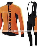 KEIYUEM Cycling Jersey with Bib Tights Unisex Long Sleeve BikeBreathable Thermal / Warm Quick Dry Dust Proof Wearable Stretch