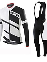 KEIYUEM Cycling Jersey with Bib Tights Unisex Long Sleeve BikeBreathable Thermal / Warm Quick Dry Insulated Dust Proof Wearable