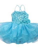 Fashion Girls Kids Dancewear Leotard Ballet Tutu Skate Performance Costume Sequined Top Flower Dance Dress with Straps
