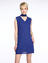 Women's Choker Simple / Street chic Solid Shift / Chiffon Bow Casual Dress,Crew Neck Above Knee