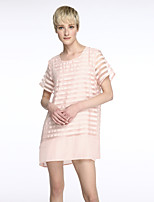 Women's Simple Striped Plus Size / Loose Dress,Round Neck Above Knee Silk / Polyester