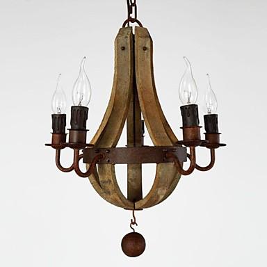 Vintage amercian rustik træ vedhæng vin tønde lysekrone lampe ...
